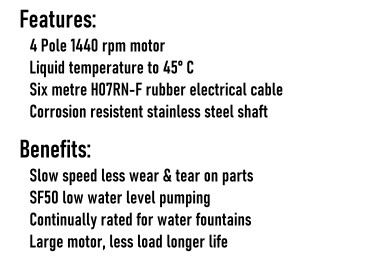 1440 RPM 4 Pole Motor Pump Series Benefits & Features